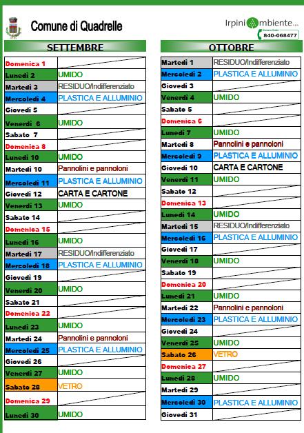 Calendario Raccolta Differenziata Napoli.Quadrelle Ecco Il Calendario Della Raccolta Differenziata